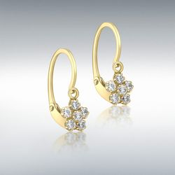 [런던골드 9ct Gold] CZ Flower Drop Earrings