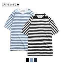 [패키지] 텐셀  루즈핏 보더 반팔 티셔츠