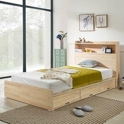 헤이디 LED 소나무원목 수납형 SS 침대 (매트별도)