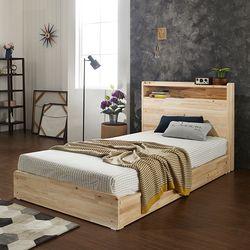 에비타 LED 편백나무원목 평상형 SS 침대 (매트별도)