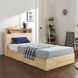 에비타 LED 편백나무원목 수납형 SS 침대 (매트별도)