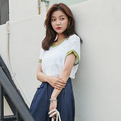 [로코식스] 레니 배색 티셔츠