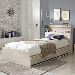 엘리나 LED 수납형 퀸 침대 (매트별도)