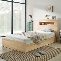 헤이디 LED 소나무원목 평상형 퀸 침대 (매트별도)