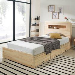 헤이디 LED 소나무원목 수납형 퀸 침대 (매트별도)