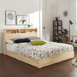 에비타 LED 편백나무원목 평상형 퀸 침대 (매트별도)