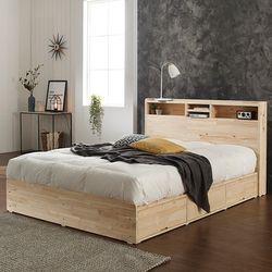 에비타 LED 편백나무원목 수납형 퀸 침대 (매트별도)