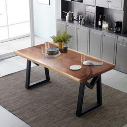 리오모던 뉴송 우드슬랩 통원목 6인용 식탁 테이블