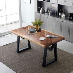 리오 모던 뉴송 우드슬랩 통원목 4인용 식탁 테이블