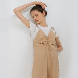 DRAWSTRING SLEEVELESS DRESS (BEIGE).
