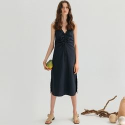 DRAWSTRING SLEEVELESS DRESS (NAVY).