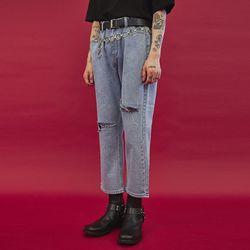 ripped knee denim pants - UNISEX