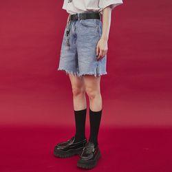 slit denim half pants