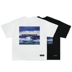 [FLION] 디스트럭트 오션 프린팅 티셔츠