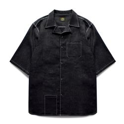 ONE-UP COLLAR LINEN SHIRTS [Black]