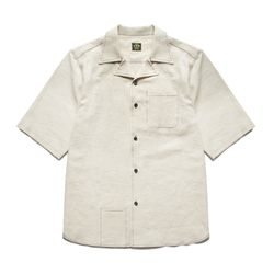 ONE-UP COLLAR LINEN SHIRTS [Ivory]