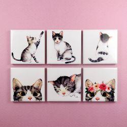고양이 일러스트 자석 홀더 냉장고 마그넷 6종