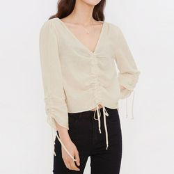 shirring natural blouse