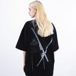 [16수] 헤비 오버핏 썸머스키 반팔 블랙