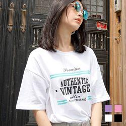 2186 VINTAGE 프린트 반팔 티셔츠 (4colors)