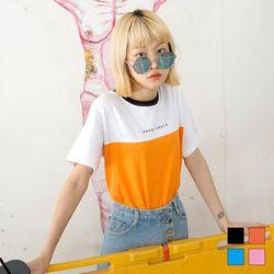 2187 SWEET 배색 티셔츠 (4colors)