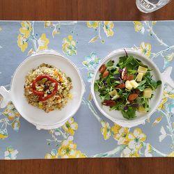 스카이 블루 블라썸 식탁매트 2장세트 : 플라워 패턴