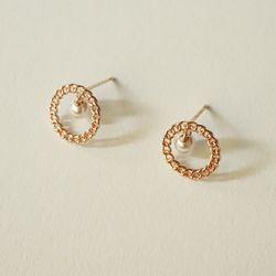 14k gold chain pearl earring