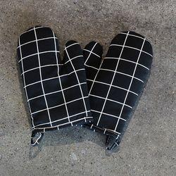스트라이프 주방장갑 2개세트 블랙