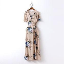 New Rose Floral Wrap Long Dress