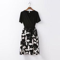 Leaf Combo Wrap Mini Dress