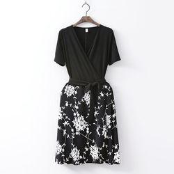 Rose Combo Wrap Mini Dress