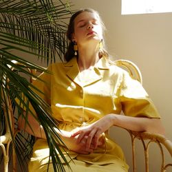 LINEN BELTED BLOUSE (YELLOW)