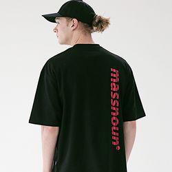 매스노운 SL3 로고 오버핏 반팔 티셔츠 MSETS006-BK