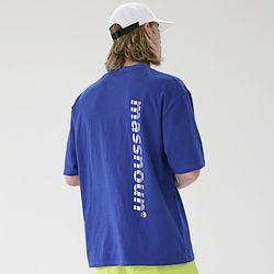 매스노운 SL3 로고 오버핏 반팔 티셔츠 MSETS006-BL