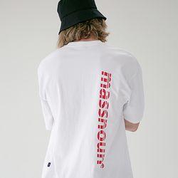 매스노운 SL3 로고 오버핏 반팔 티셔츠 MSETS006-WT
