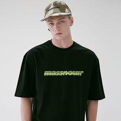 매스노운 SL 3D 로고 오버핏 반팔 티셔츠 MSETS009-BK