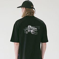 매스노운 STRUCTURE 오버핏 반팔 티셔츠 MSETS010-BK