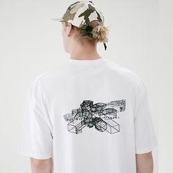 매스노운 STRUCTURE 오버핏 반팔 티셔츠 MSETS010-WT