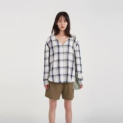 check v-neck blouse (2colors)