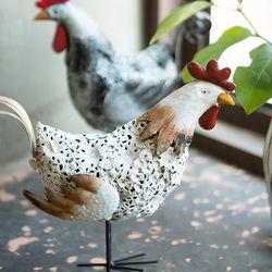 JD6316 빈티지 철재 닭 인형 1p