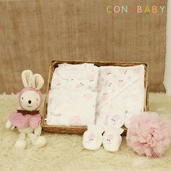 [CONY]신생아선물6종세트(딸기+토끼애착인형)