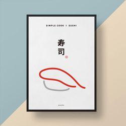 유니크 일본 디자인 포스터 M 심플쿡 스시 A3(중형)