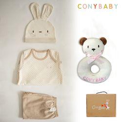 [CONY]오가닉토끼4종선물세트(의류3종+곰딸랑이)