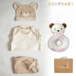 [CONY]오가닉곰돌이4종선물세트(의류3종+곰딸랑이)