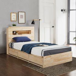 루브 LED 고무나무원목 수납형 퀸 침대 (매트별도)