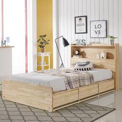 루브 LED 고무나무 수납형 슈퍼싱글 침대 (매트별도)