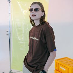 [N] Full name logo tshirt-brown
