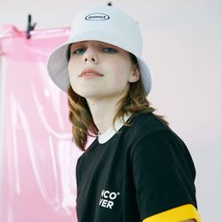 [N] Round bucket hat-white