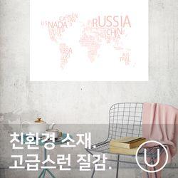 [유니크]세계지도 포스터 스티커 타이포 레터핑크