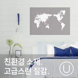 [유니크]세계지도 포스터 스티커 그래픽 화이트그레이